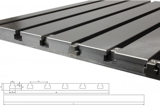 Steel T-slot plate 7020 (finely milled)