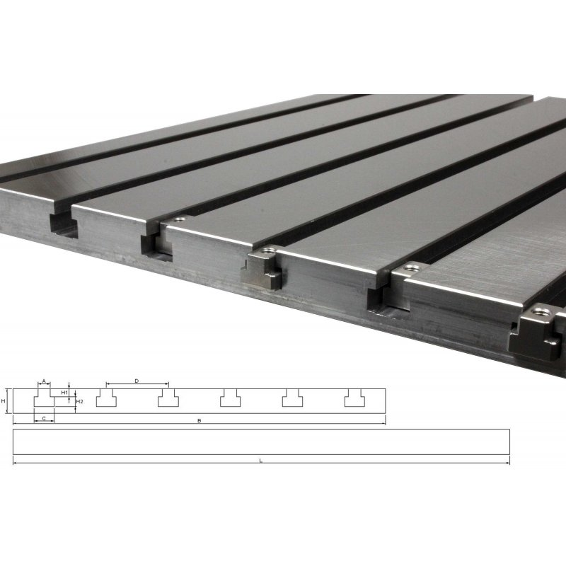 Steel T-slot plate 7040 (finely milled)