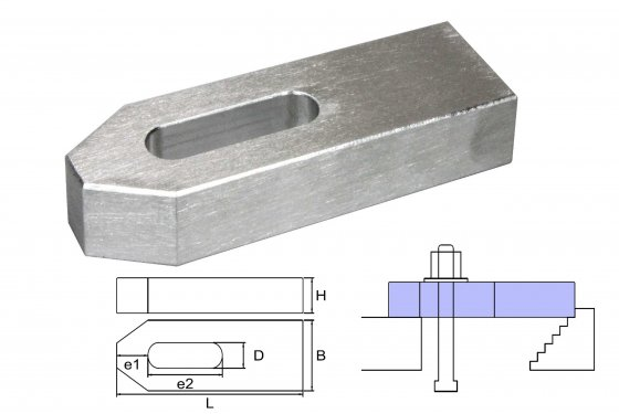 cast aluminium clamp M12/14x125x40x20